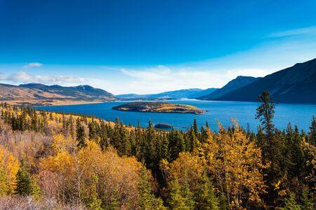 Indian summer autumn fall landscape of Windy Arm of Tagish Lake with Bove Island near Carcross, Yukon Territory, Canada