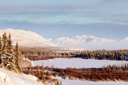 yukon territory: Beautiful winter wilderness landscape of frozen Lake Laberge, Yukon Territory, Canada