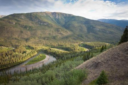 yukon territory: Beautiful valley of Big Salmon River, Yukon Territory, Canada Stock Photo