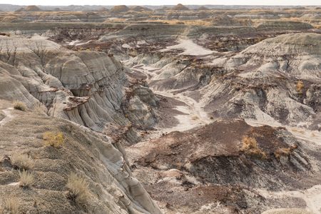 Dinosaur Provincial Park red deer river valley badlands landscape is a hot bed for dinosaur bones fossils, Alberta, AB, Canada 写真素材