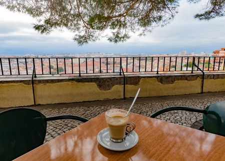 Cafe at viewpoint over Lisbon Portugal Europe 写真素材