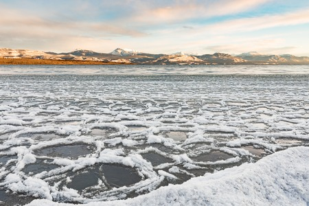 Ice floes at shore of Lake Laberge Yukon Canada 写真素材