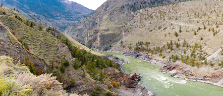 Water  of mighty Fraser River flowing through mountain valley near Lillooet in interior British Columbia, BC, Canada