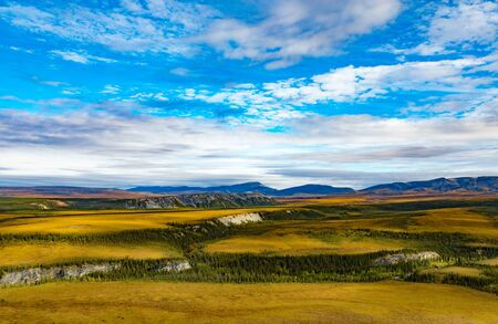 Arctic tundra and Dempster Highway at Rock River north of arctic circle, Yukon Territory, YT, Canada