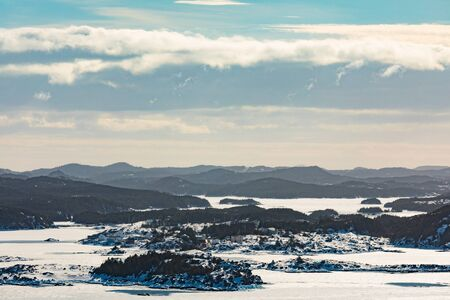 Winter landscape of fjords around Herring Neck and Pikes Arm on New World Island, Newfoundland, NL, Canada 写真素材 - 132019172
