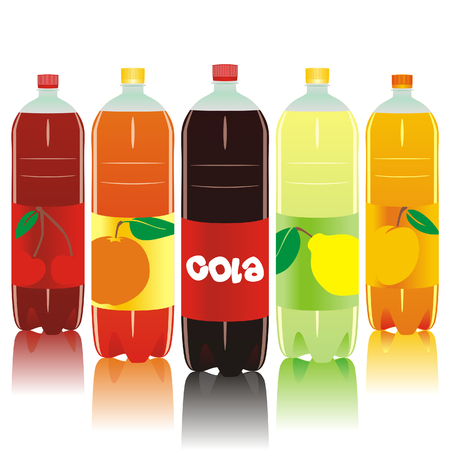 carbonated: vector illustration of five carbonated drink bottles Illustration
