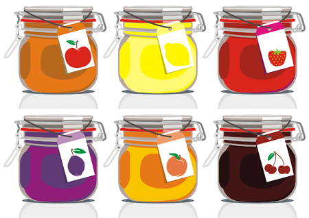 vector illustration of six different jam jars Illustration