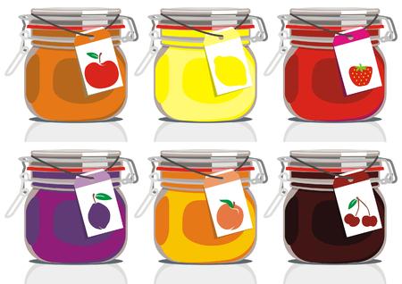 vector illustration of six different jam jars Illustration
