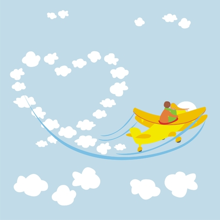 romantic young couple flying with an airplane Vector