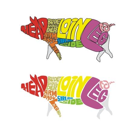 carnicer�a: ilustraci�n vectorial aislados de cerdo gracioso hecho de palabras que describen las partes de color