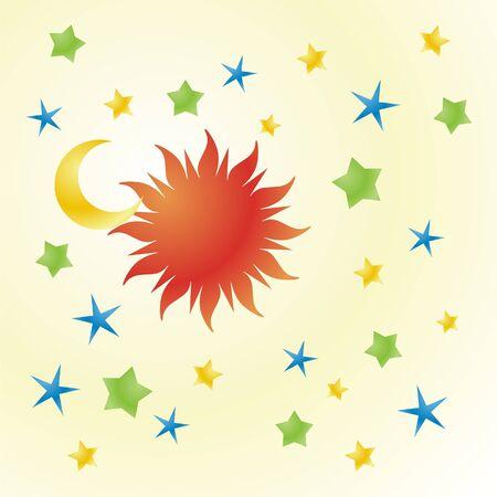 zon en maan: vector illustratie van zon, maan en sterren