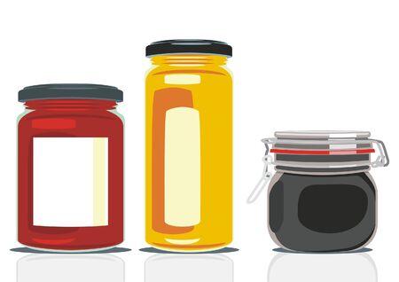 vector illustration of classic shape jam jars  Illustration