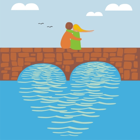 bridge illustration: vector illustration of young couple in love on the bridge