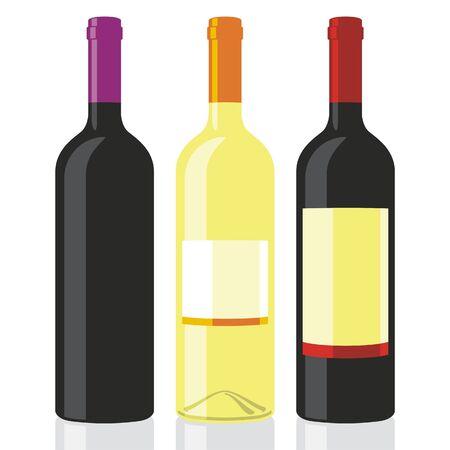 sauvignon: vector illustration of three wine bottles