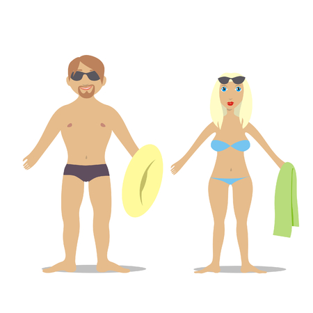 swiming: vector illustration of young couple in swiming suits