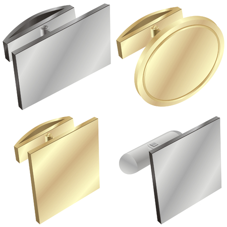 cuff link: vector illustration of different cuff links
