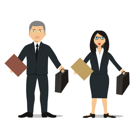 vector illustration of a young lawyer couple Vector