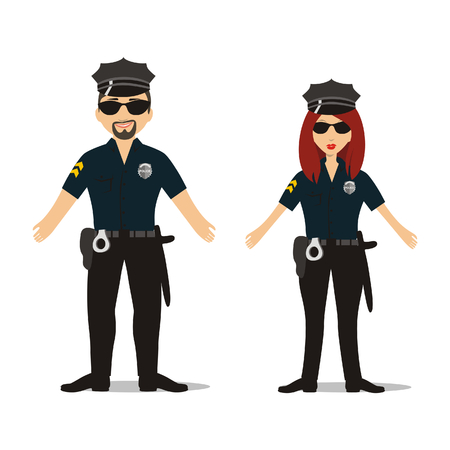 vector illustration of a couple in police suit