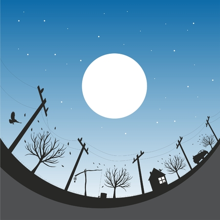 Vector illustration with autumn night sky Stock Vector - 4243208