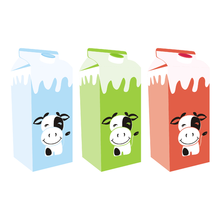 carton de leche: Ilustraci�n vectorial aislados de cajas de cart�n de leche
