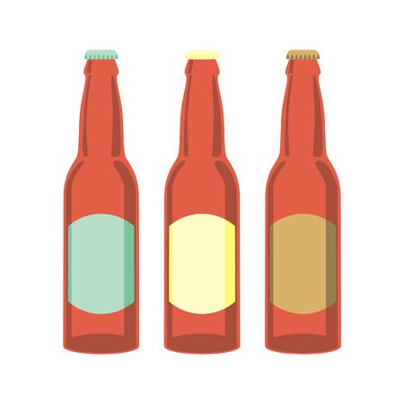 Ilustración vectorial aislados de botellas de cerveza