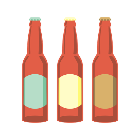 botellas de cerveza: Ilustraci�n vectorial aislados de botellas de cerveza