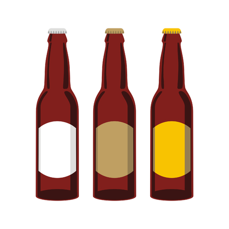 Vector illustration of isolated beer bottles
