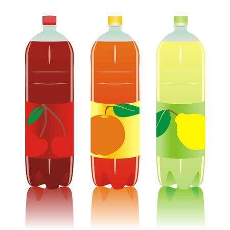 carbonated: Vector illustration of isolated carbonated drinks bottles set Illustration