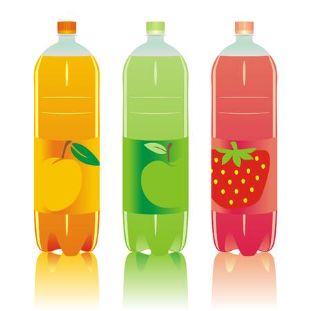 Ilustración vectorial de las botellas de bebidas carbonatadas aisladas conjunto