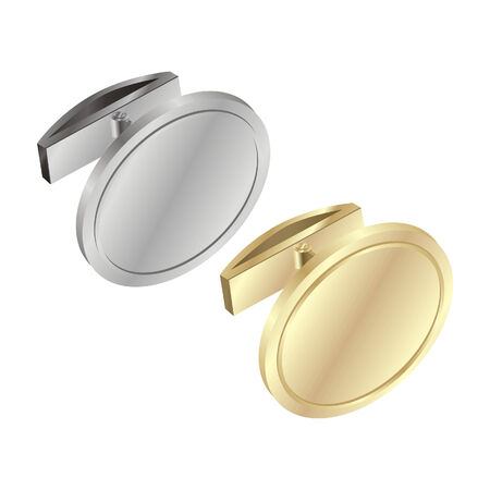 cuff link: Vector illustration of isolated gold and silver cuff links