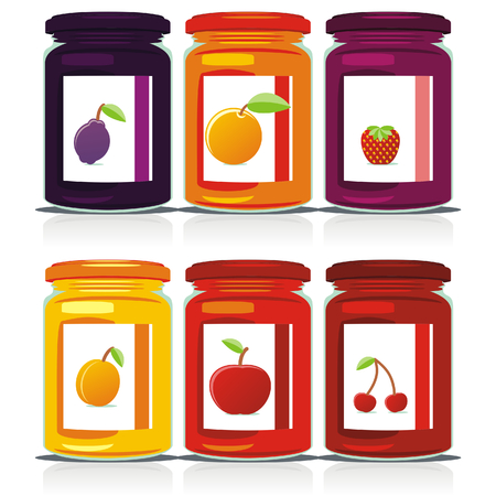 Vector illustration of isolated jam jars set Vector