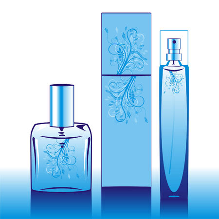 fragrances: Vector illustration of isolated perfume bottles in blue Illustration