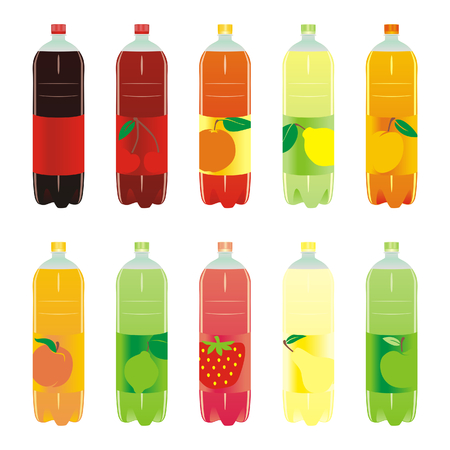 carbonated: isolated carbonated drinks set Illustration