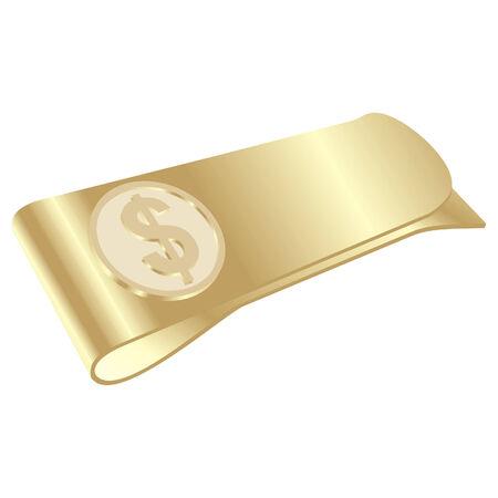 시뮬레이션: isolated golden money clip with dollar symbol 일러스트