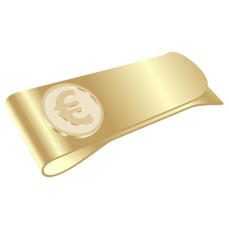 시뮬레이션:  isolated golden money clip with euro symbol