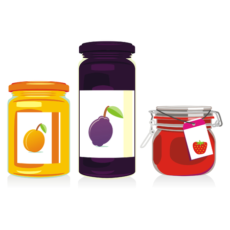isolated jam jars set Vector