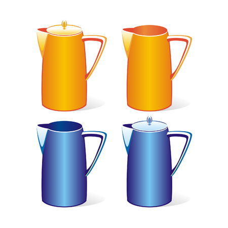 isolated colored tea jugs set Stock Vector - 4370124