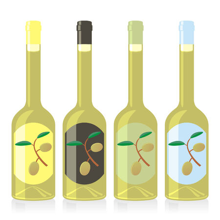 isolated olive oil bottles set