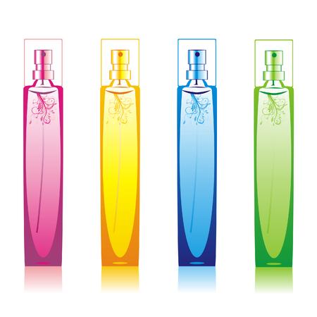 perfume spray: isolated perfume bottles set