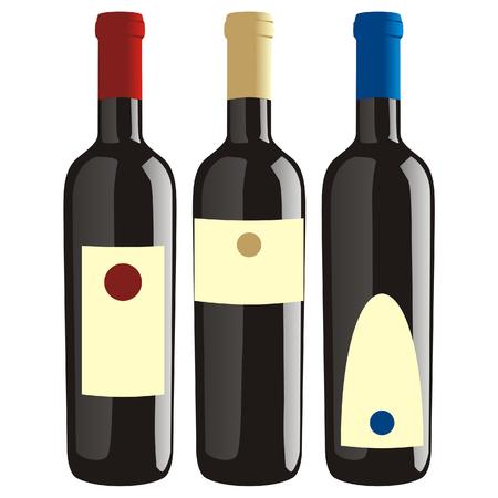 isolated wine bottles set