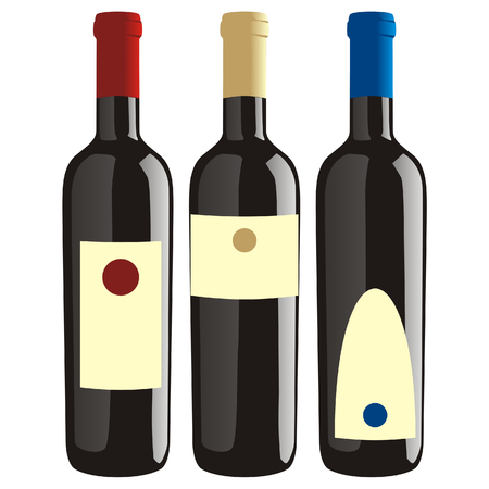 food and wine:  isolated wine bottles set