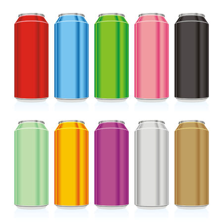 alluminum: isolated colored cans