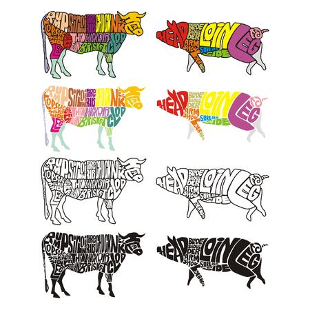 carniceria: aislado de vaca y de cerdo Vectores