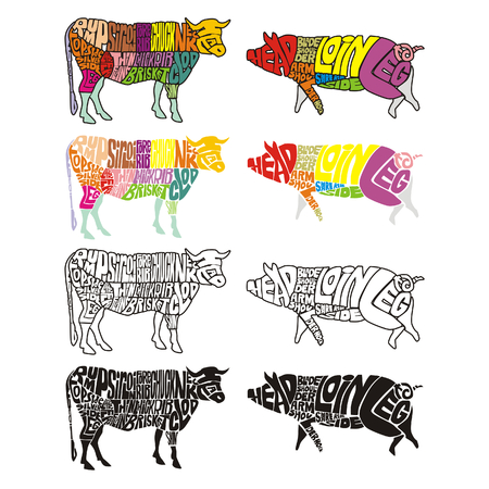 isolated cow and pig