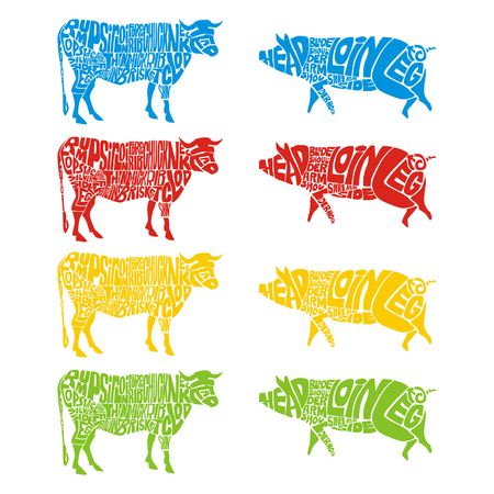 isolated cow and pig Stock Vector - 4382590