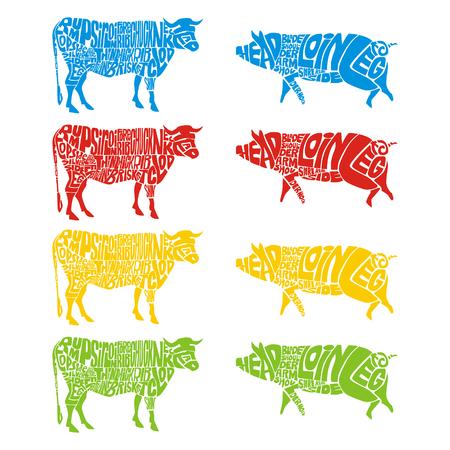 rumsteak: vache isol�e et porc
