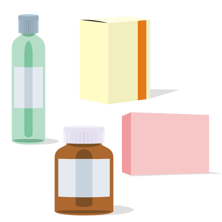 isolated painkillers bottles and boxes Vector