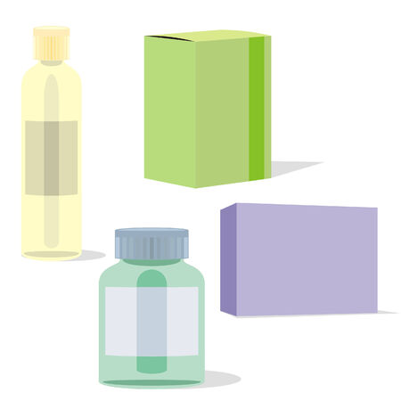painkillers: isolated painkillers bottles and boxes Illustration
