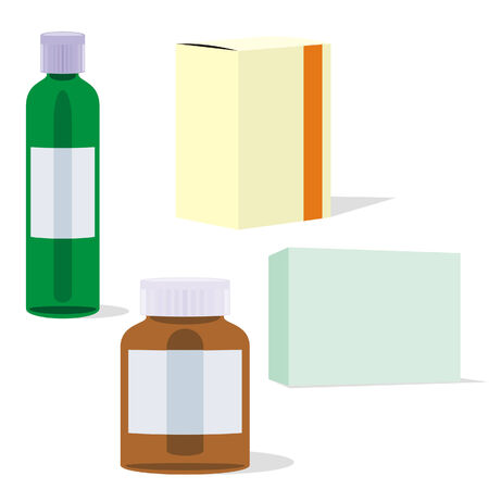 isolated painkillers bottles and boxes Stock Vector - 4382564