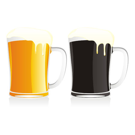 isolated beer mugs Vector